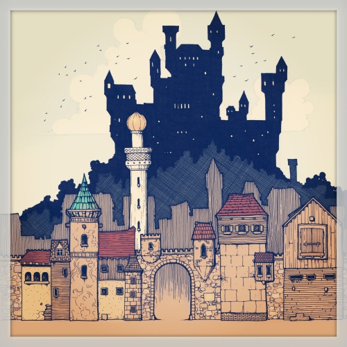 A coloured illustration of a city and castle