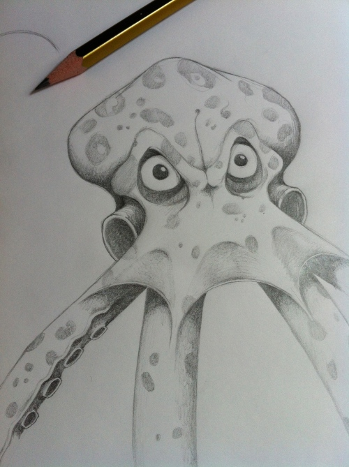 A pencil sketch of an angry octopus.