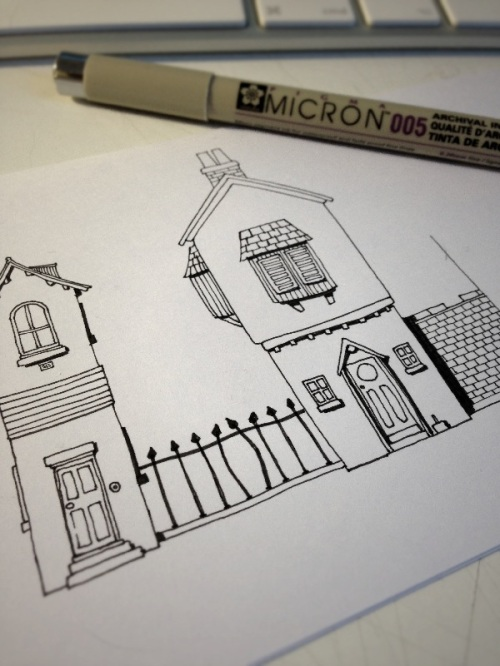 Sketch in pen of a couple of buildings