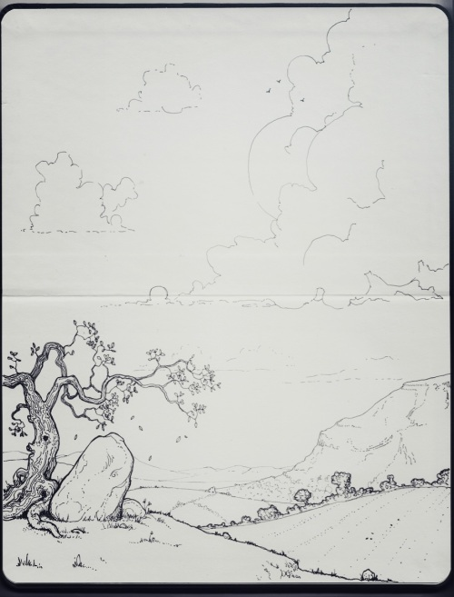 Finished drawing of a landscape