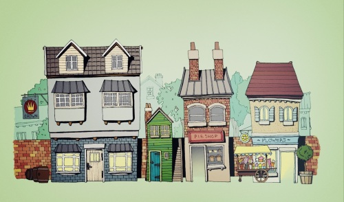Illustration of a row of shops