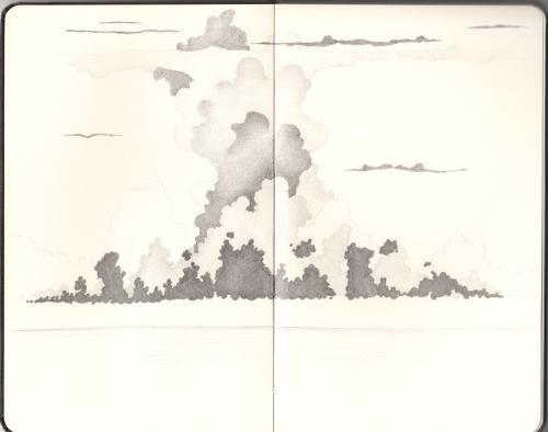 Pencil sketch of a big thundercloud