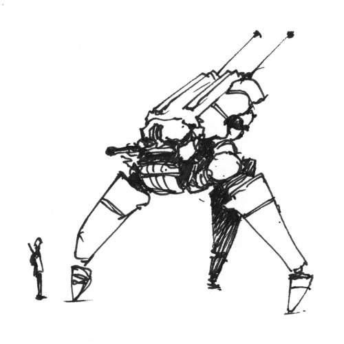 Three-legged mech and pilot