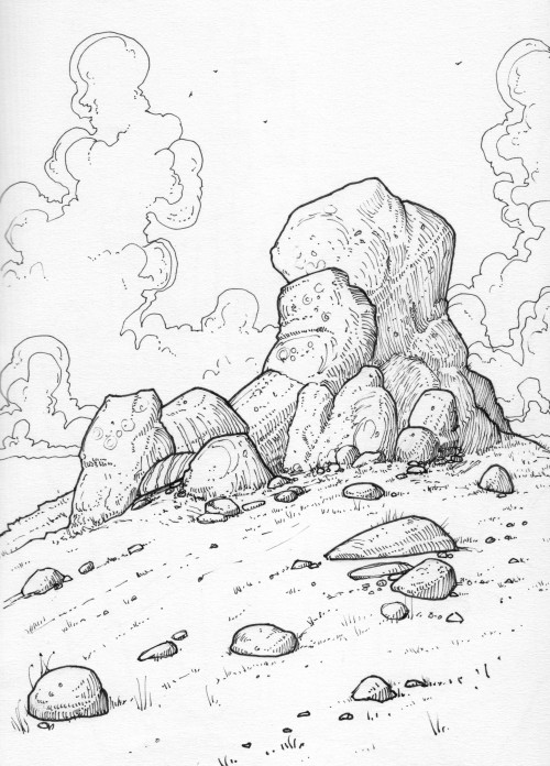 Drawing of a rock formation