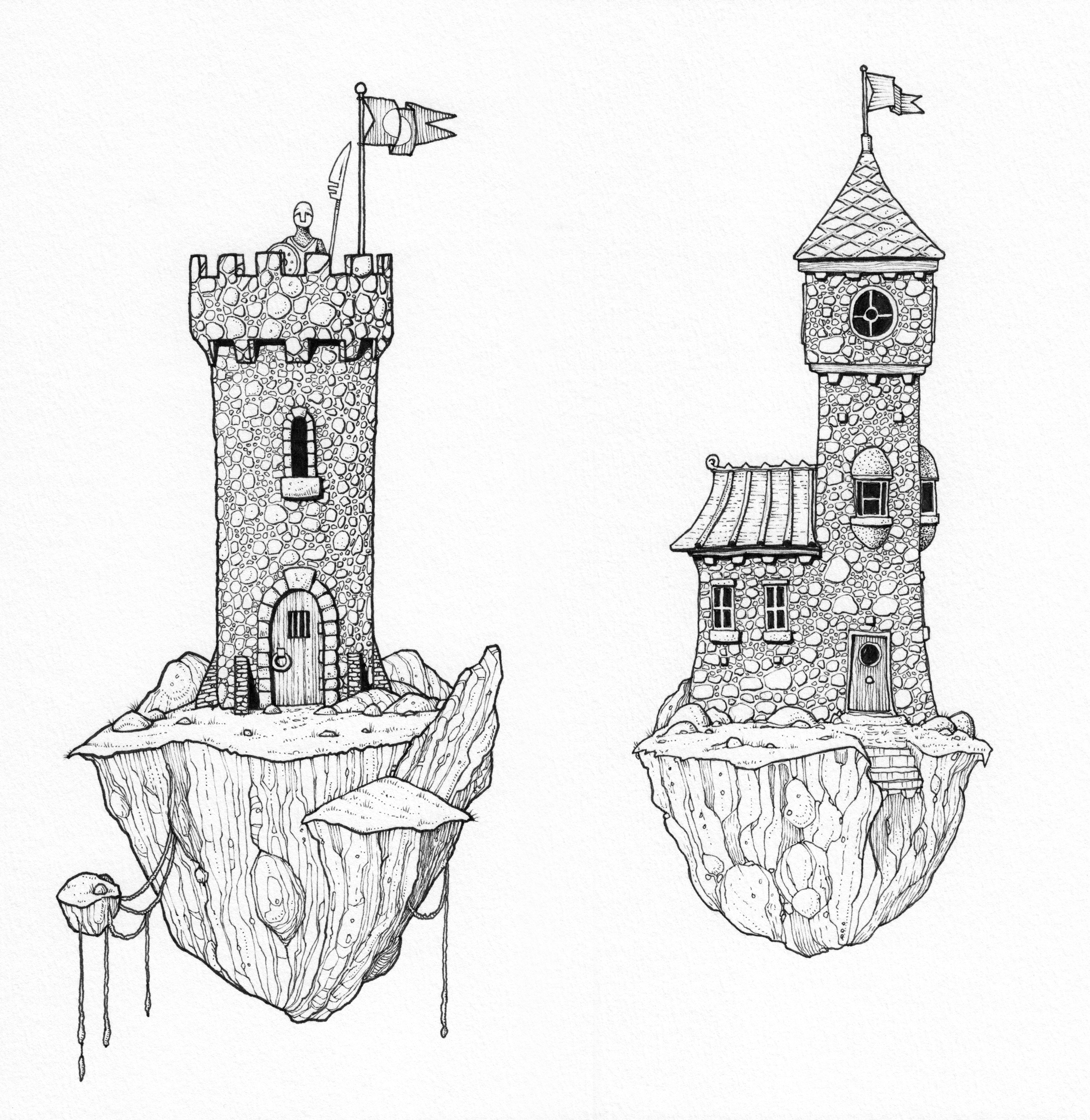 The Towers - pen drawi...