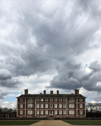 Ham House under a brooding sky.