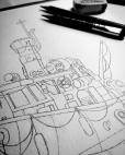 Final sketch on cartridge paper.