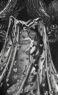 """Art by Virgil Finlay for the 1949 Memorial Edition of """"The Ship of Ishtar"""" by A. Merritt"""