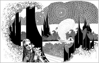 Martian Canal by Virgil Finlay