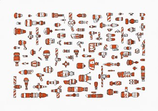 Spaceship Fleet I. Colour version.